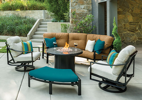 Tropitone lounge chairs and fire pit table