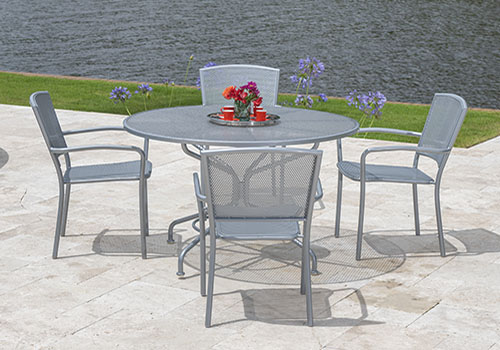 outdoor silver table with chairs